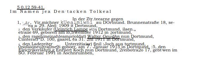 """OCR: Urteil des OLG Hamm und """"[Ge]Schicht[s]torten"""""""